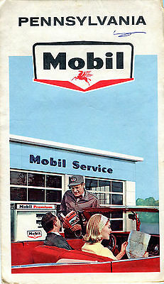 1965 Mobil Pennsylvania Vintage Road Map