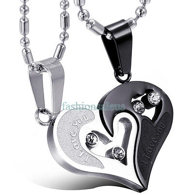 """2pcs Heart Stainless Steel Pendant Couple Necklace Set """"I LOVE YOU"""" Anniversary"""
