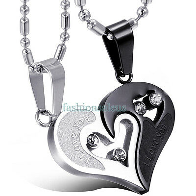 """""""I Love You""""Matching Hearts Lover's Couple's Pendant Stainless Steel Necklace US"""