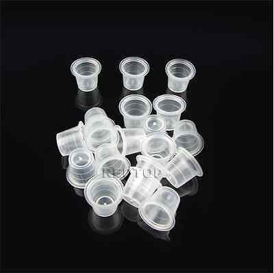 100 x 13mm MEDIUM TATTOO INK CUP / CAP clear . ALL SUPPLIES UK