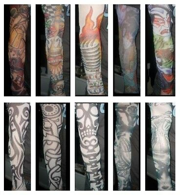 Fake Tattoo Sleeve Fancy Dress - Unisex Nylon Costume Temporary - 10 Designs