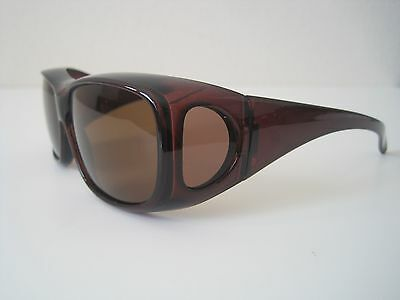 Brown-100%UV Polarized Sunglasses unisex cover/wear over Rx glass,fit Driving
