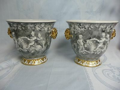 FANTASTIC PAIR OF EARLY MARK CAPODIMONTE CACHE POTS w/GILT RAM'S HEAD & TRIM