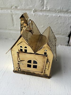 Brass House Tealight Candle Holder Copper Decor Great Shadows!!