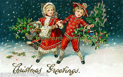 Victorian Image~Girl & Boy in Red Suits w Holly & Tree~Snow~ NEW Xmas Note Cards
