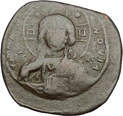 JESUS CHRIST Class B Anonymous Ancient 1028AD Byzantine Follis Coin CROSS i41908