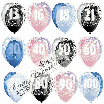 "HAPPY BIRTHDAY GLITZ 13-60th 12"" PEARL BALLOONS 6PACK PARTY DECORATION,3 COLOURS"