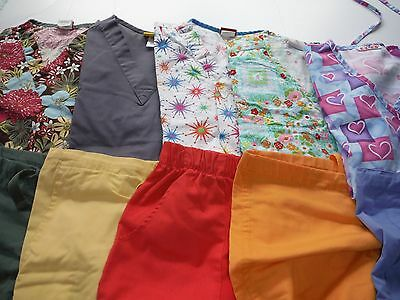 Womans Lot Of Scrub Sets, 5 Tops, 5 Pants, Very Nice    Size Xs  (Box141)