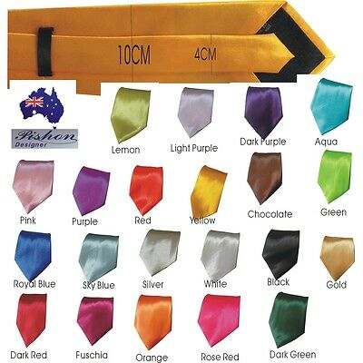 Mens Skinny Tie Fashion Solid Plain Colour Satin Formal wedding Casual 10*142M