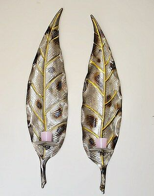 Pair of Large Metal Leaf Wall Art Pillar Candle Holder Wall Sconce Mounted Gold