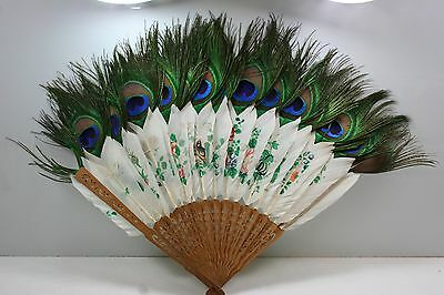 Antique Chinese Hand-painted Peacock Feather Fan - Real Feathers