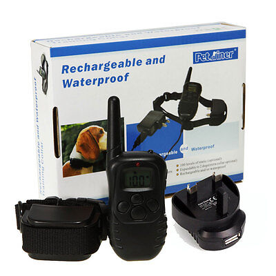 300M Waterproof Rechargeable 100LV LCD Vibrate Remote Dog Training Collar