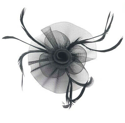 Black Feather Flower Beak Clip Fascinator Weddings Races Ladies Day