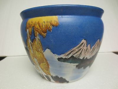 Porcelain Jardiniere, Mountain Motif Unmarked Beautiful And Rare Pottery Planter