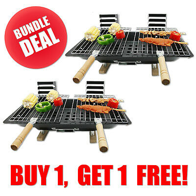 Portable Picnic Camping Mini Bbq With Grill Set