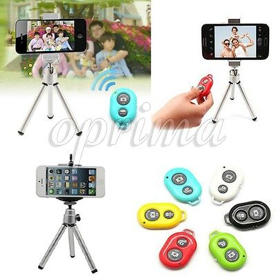 Bluetooth Remote Shutter + Tripod +Holder For Samsung Galaxy S6 S5 S4 Note 5 4 3