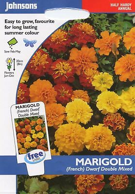 Johnsons Pictorial Pack Flower Marigold (French) Dwarf Double Mixed - 125 Seeds