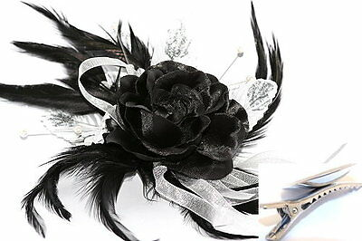 Black & White Silk Flower & Feathers Fascinator on Hair Clip