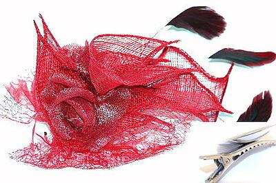 Red Flower Mesh & Feather Fascinator on Hair Clip Races Bridal