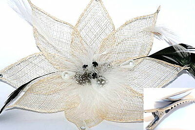 Cream mesh & feather Fascinator with black crystal center stones on Hair Clip
