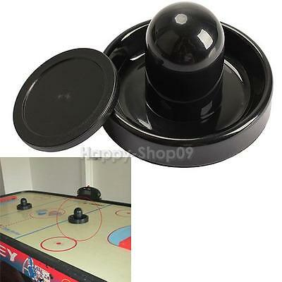 96mm Air Hockey Table Felt Pusher Mallet Goalies with 1pc 63mm Puck Black v#h9