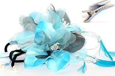 Blue & Black Silk Flowers & Feathers fascinator on Hair Clip Races Bridal