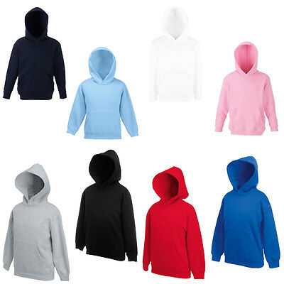 New Fruit Of The Loom Kids Casual Long Sleeved Hooded Pullover Jumper Ages 5-15