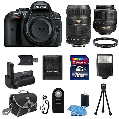 Nikon D5300 Digital SLR Camera Body + 18-55 VR + 70-300 + Battery Grip Bundle
