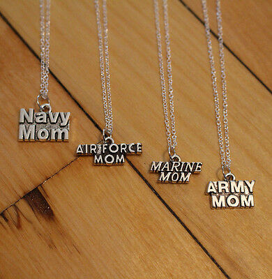 MARINE MOM, NAVY MOM, ARMY MOM, AIR FORCE MOM charm NECKLACE chain military