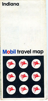 1968 Mobil Indiana Vintage Road Map
