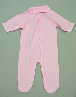 VTG Baby girl solid pink with white ruffle play suit buttons romper sz NB 0-3M