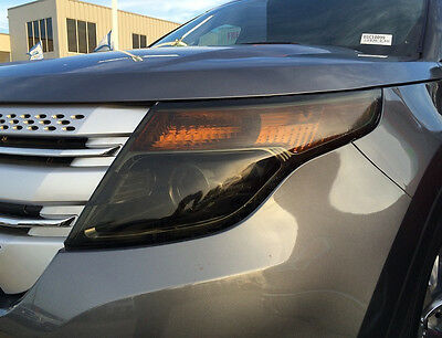 11-15 Ford Explorer Smoke Head Light Precut Tint Cover Smoked Overlays