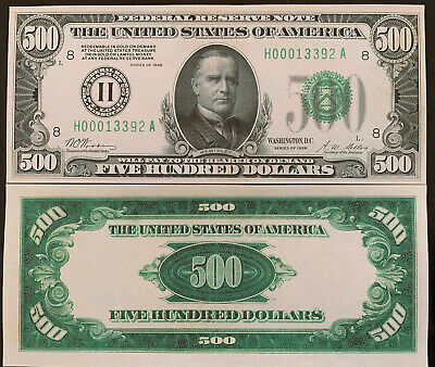 Reproduction United States $500 Bill Federal Reserve Note 1928 Five Hundred