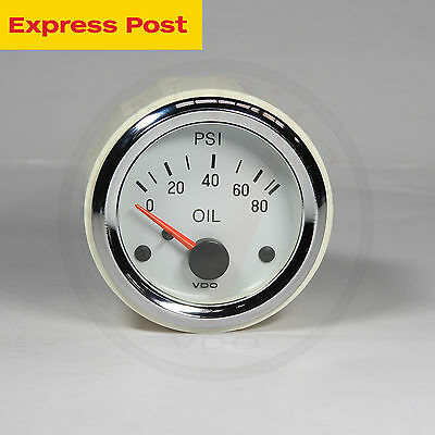 VDO 52mm WHITE/CHROME 12v 80Psi OIL PRESSURE GAUGE automotive-marine-4wd