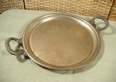 Antique Vintage Chased Silver Plate on Copper Tray Hallmarked