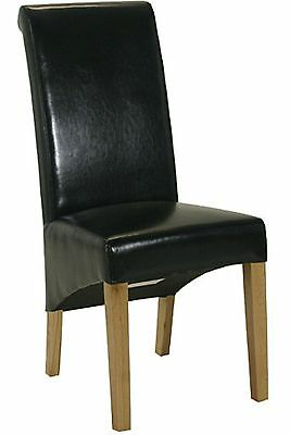 Farrow set of two black rollback dining chairs solid oak furniture