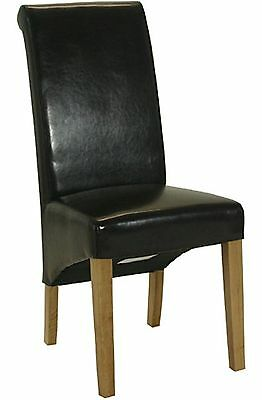 Farrow set of two brown rollback dining chairs solid oak furniture