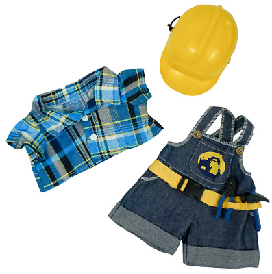 "Teddy Bear CONSTRUCTION WORKER w/HARD HAT CLOTHES Fit14-18"" Build-a-bear !!NEW!!"