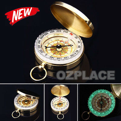 Premium Golden Outdoor Camping Compass Pocket Watch Style Classic Brass