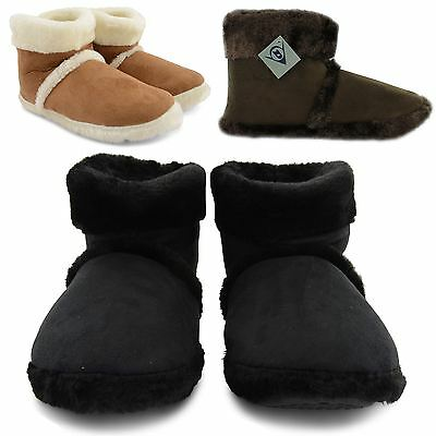 NEW MENS DUNLOP FLAT MICROSUEDE FURRY SNUGG SLIPPERS ADULT ANKLE BOOTS UK SIZE