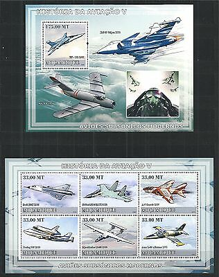 Mozambique Mosambik 2009 Block Mini Sheet Set ** History Of Aviation Planes