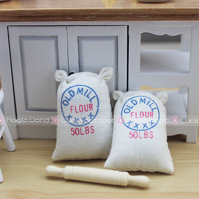 Rolling Pin 2-Bag of Flour Kitchenware Dollhouse Miniature One Inch Scale 1:12