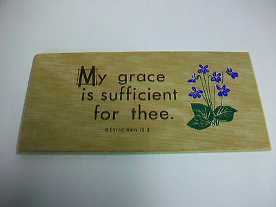 Vintage Religious Christian Wood Plaque My grace is sufficient for thee II Cor