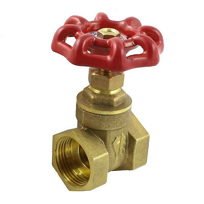Red Rotary Knob 26mm 3/4PT Threaded Dia Stop Water Brass Gate Valve