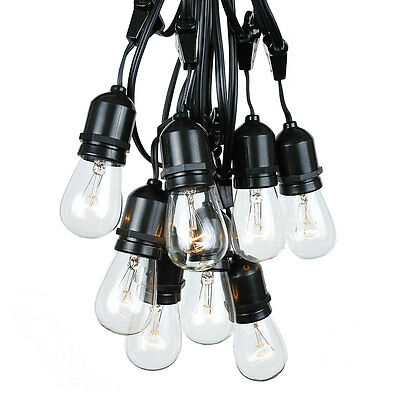 100 Foot S14 Outdoor Patio Globe String Lights-Set of 50 Clear S14 Edison Bulbs