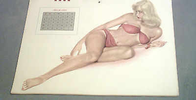 VINTAGE AL MOORE 1949  MARCH  PIN UP CALENDAR PAGE / EXCELLENT COND/LG 16 X 11