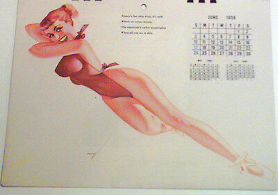 VINTAGE PETTY JUNE 1956  PIN UP CALENDAR PAGE / NEAR MINT CONDITION
