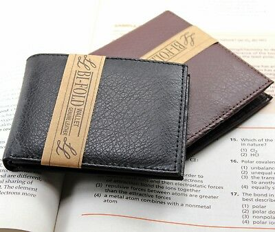 New Mens Slim Thin Bifold Genuine Leather Wallet ID Credit Card Billfold Holder