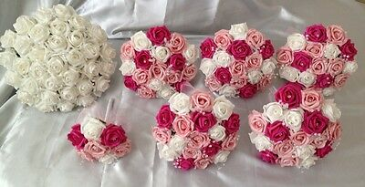 Wedding Flowers 7 Artificial Foam Rose Bouquets Pink/white/hot Pink Bride Flower