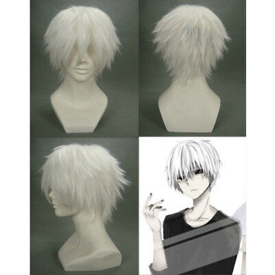 Tokyo Ghoul Kaneki Ken Cosplay Wig Silver Short Layered Synthetic Full Wigs
